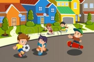 22777989-a-ilustração-do-vetor-de-crianças-felizes-brincando-na-rua-de-um-bairro-suburbano